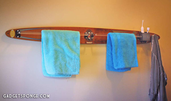 Repurposed / Upcycled Vintage Water Ski Towel & Robe Rack by GadgetSponge.com