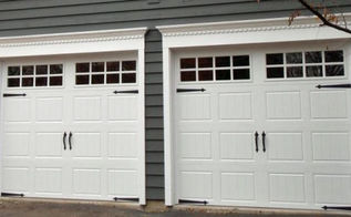 do you enjoy having to open your garage door by hand, doors, garage doors, garages, Clopay garage door gallery collection polyurethane insulation 17 2 R value Steel back White with square glass top section spade strap hinges and handles used as decretive hardware