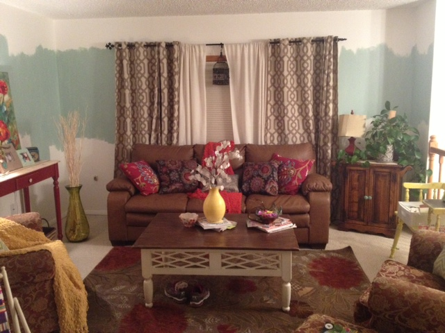 q need help on how to paint a raised ranch open floor plan, home decor, home maintenance repairs, how to, painting, Here is the living room The small sofas will have slip covers and the rug will change and so forth The room is not decorated yet but the pillow is going to be my color palette