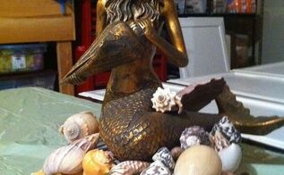 please help mermaid lamp, lighting, painting, repurposing upcycling, Should I paint the mermaid a different color