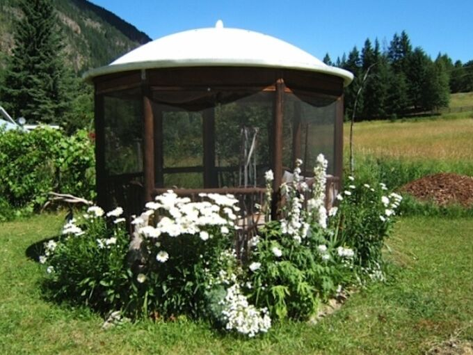 gorgeous gazebo from a recycled satellite dish, gardening, outdoor living, repurposing upcycling, Gorgeous gazebo from a recycled satellite dish