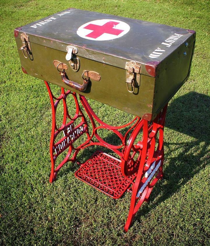 Repurposed WWII Military First Aid Storage Suitcase Table w/ Sewing Machine Base & Yardsticks