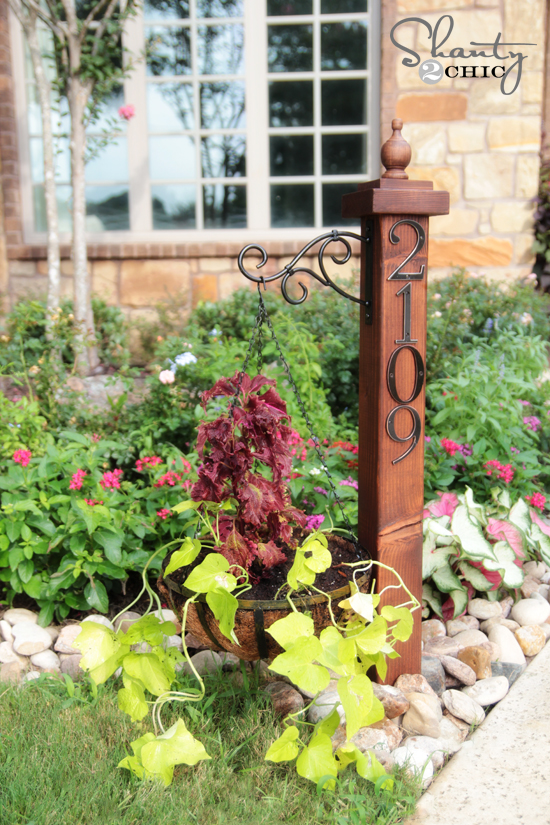 diy address numbers post planter, diy, gardening, landscape, woodworking projects