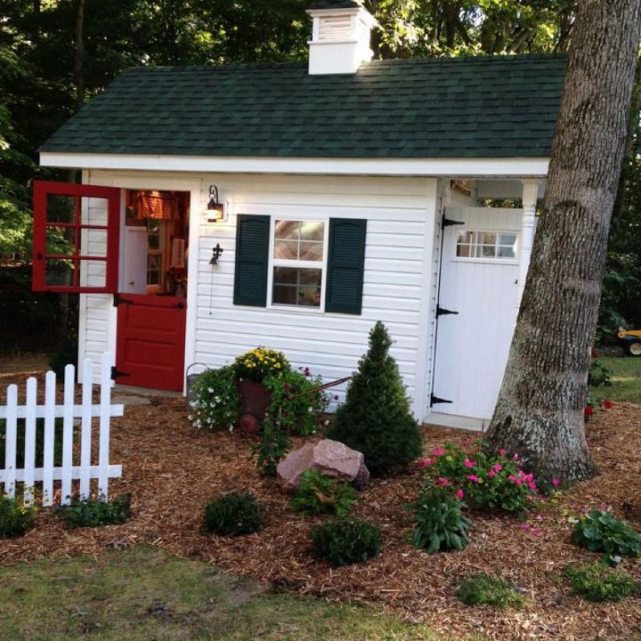 a teacher s dream garden shed, curb appeal, gardening, outdoor living, The potting shed side view with double doors