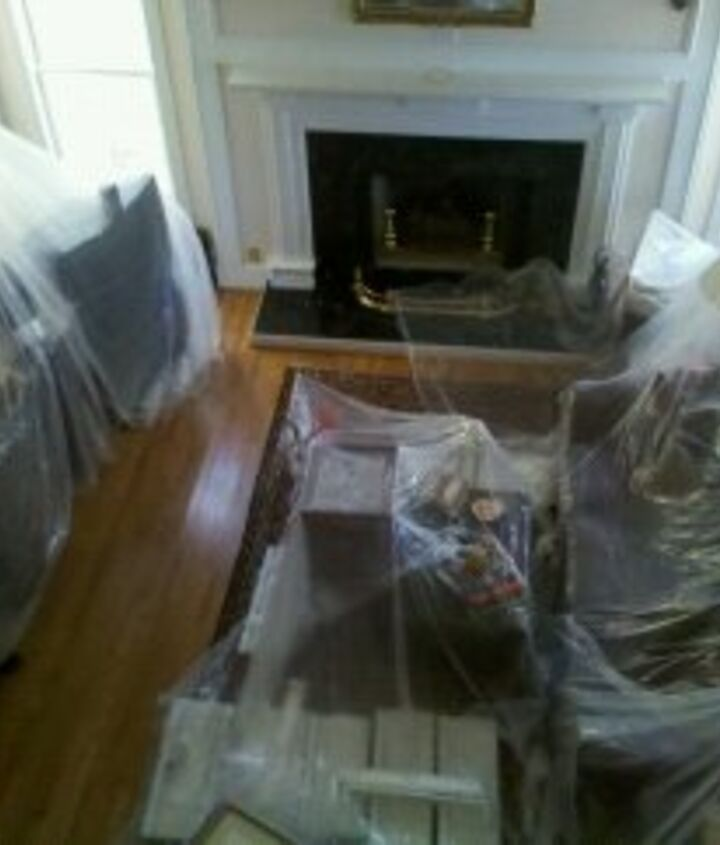 The family room during construction- the dust traveled throughout the house, so we kept everything covered.