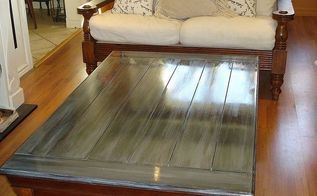 big box table with barnboard effect, home decor, living room ideas, painted furniture, A glossy barnboard finish went perfectly in the clients somewhat modern environment