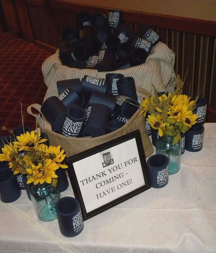 Guest favors:  customized drink koozies