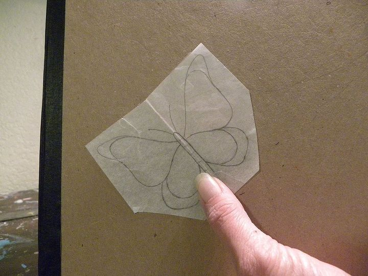 Create your pattern using trace paper and a pencil. Hint: draw one side of the butterfly, fold the paper and draw the other side by tracing. Then it is the same.