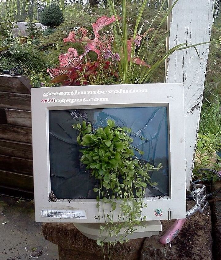 i repaired my computer monitor all by myself, gardening, repurposing upcycling
