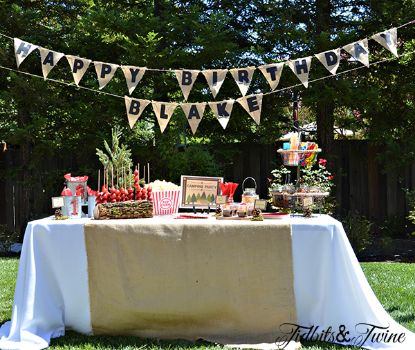 This is the dessert table, complete with a burlap banner that I made.