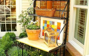 my ralph lauren courtyard, flowers, gardening, outdoor living, It became an instant potting bench bar server and sits in an area beside the herb garden