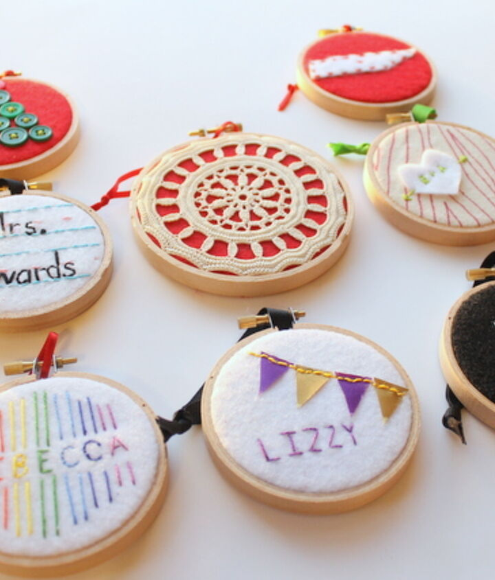 Check out all of these ideas for those on your git list!  http://www.craftsunleashed.com/index.php/seasonal/hoop-handmade-christmas-ornaments/#