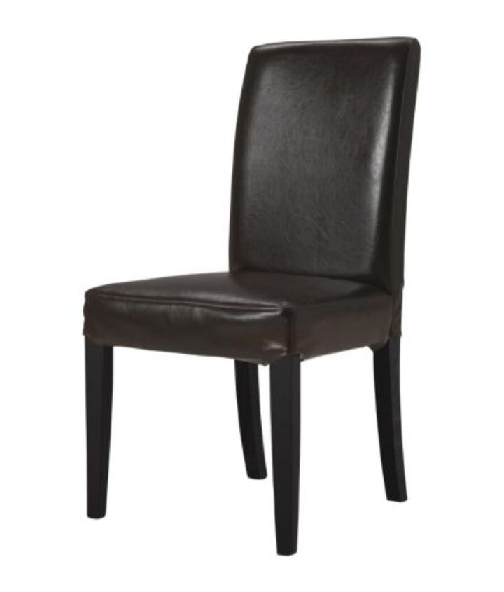 HENRIKSDAL chair with brown-black legs and dark-brown leather upholstery.