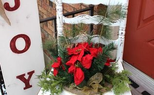 chair for charity creation, christmas decorations, repurposing upcycling, seasonal holiday decor, It is a great fit for Christmas time however simply remove the bow and pointsettia and replace with a nice fern or ivy for the summer months