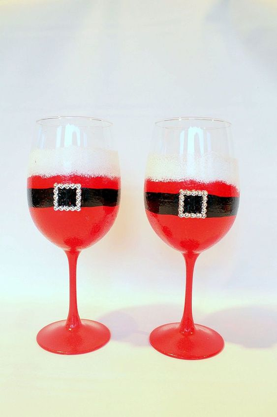 Santa Wine Glass by Brushes with A View