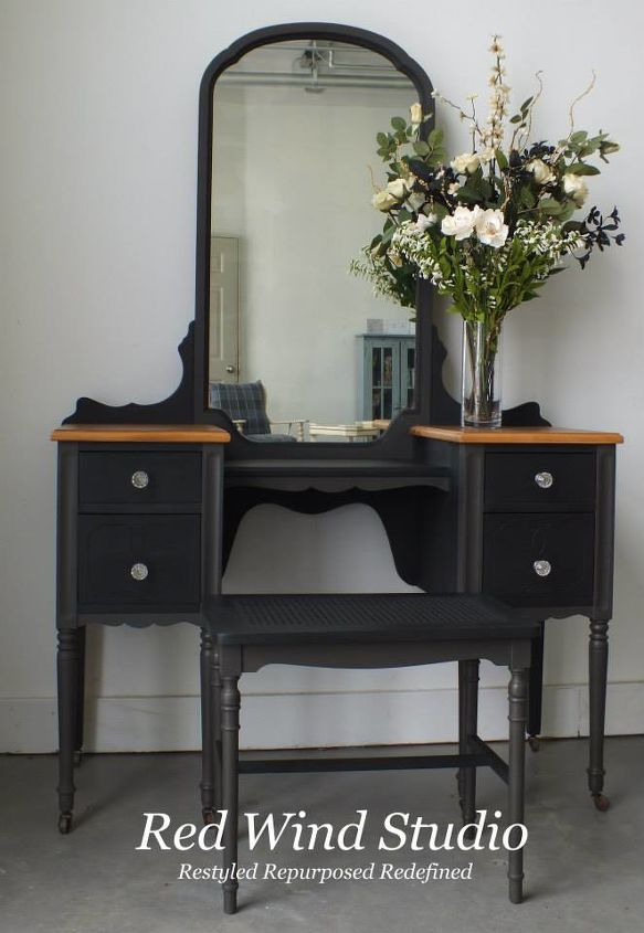 Bring it all together and voila the little black dressing table. What lovely lady wouldn't want to sit here and get ready for that special evening out?  http://redwindstudio.ca/store/2014/03/16/the-little-black-dressing-table/