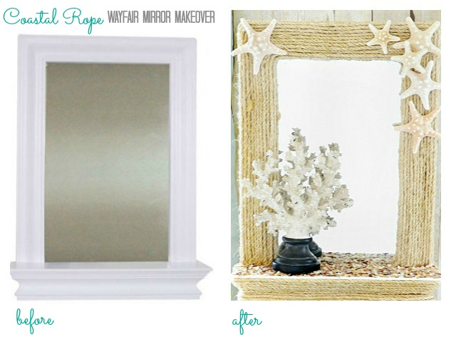 Before it was a sweet and simple framed mirror, after it has been transformed into this coastal rope mirror!