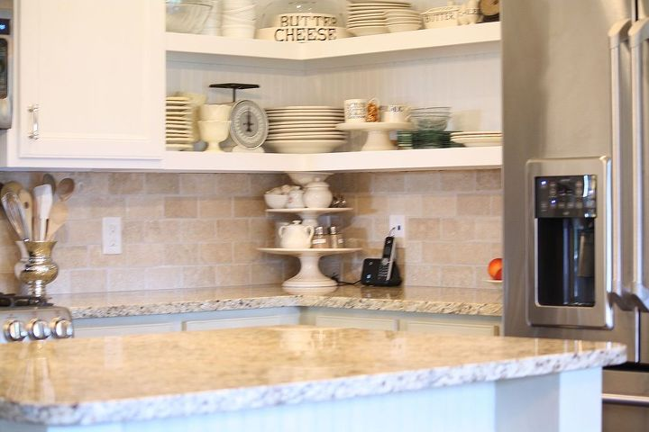 Granite countertops were kept from the original kitchen design.