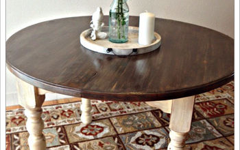 two toned stained table, painted furniture, After Two toned stained Table