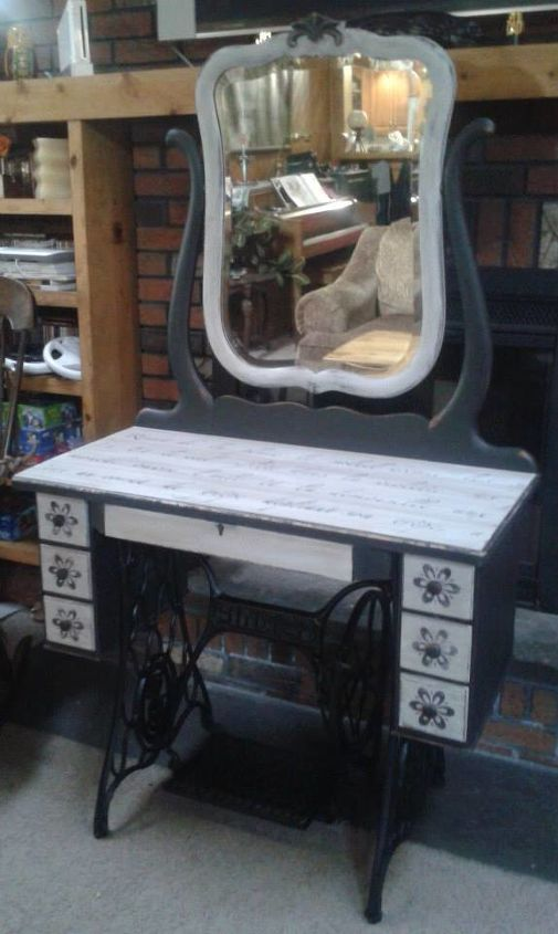 repurposed singer sewing machine into a beautiful vanity, painted furniture, repurposing upcycling