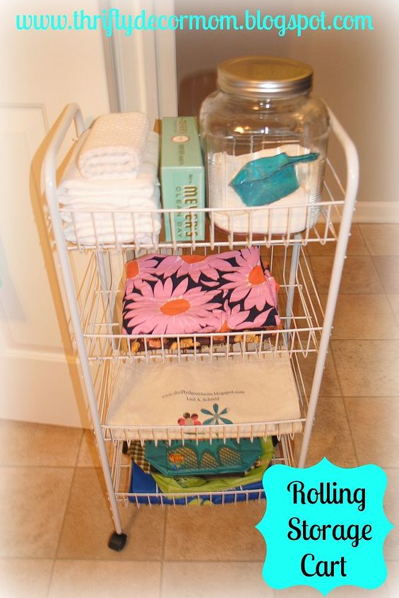 laundry room, cleaning tips, laundry rooms, shelving ideas, storage ideas, A rolling cart is perfect for a small space It can be easily moved and was only 13