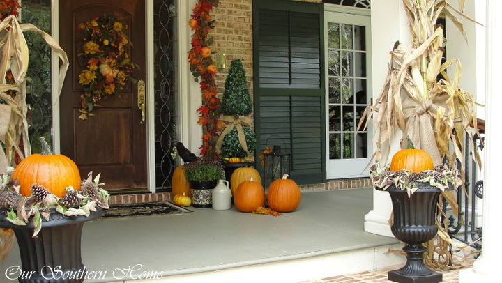 a mixture of faux and real pumpkins makes decorating year after year more affordable