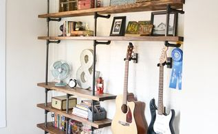 diy industrial shelves, bedroom ideas, diy, home decor, shelving ideas, storage ideas