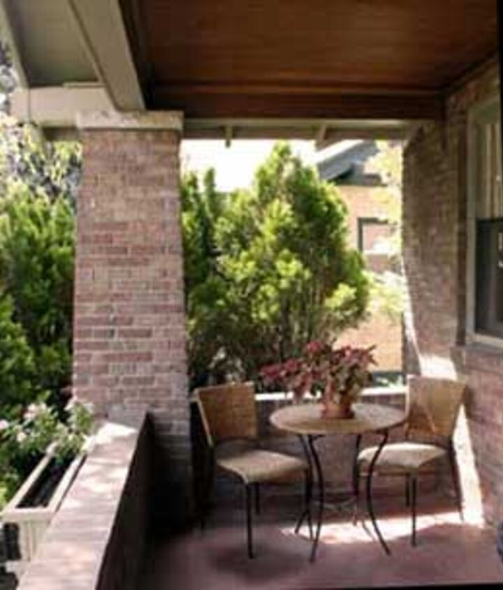 Shrubs and trees help to naturally shield porches from the street.
