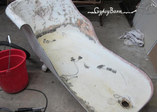 clawfoot tub to chaise lounge, painted furniture, repurposing upcycling, Smoothed down with Bondo added There is a full album being uploaded right now to my Facebook page at Come join the fun