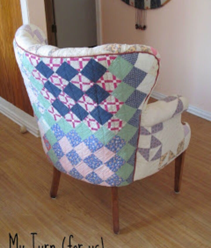 Upholster a wing chair with old antique quilts