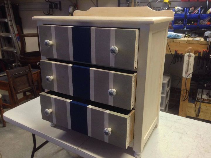 nautical themed chest of drawers makeover, painted furniture