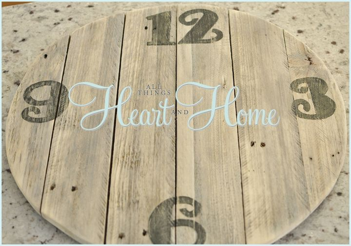 easy diy pallet clock, crafts, home decor, outdoor living, pallet, repurposing upcycling, When the paint was dry I gently sanded the numbers to look weathered