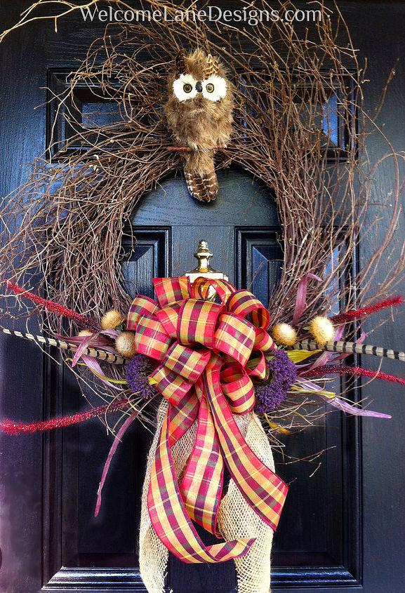 thanksgiving owl wreath, crafts, seasonal holiday decor, thanksgiving decorations, wreaths, Thanksgiving Owl Wreath by WelcomeLaneDesigns com