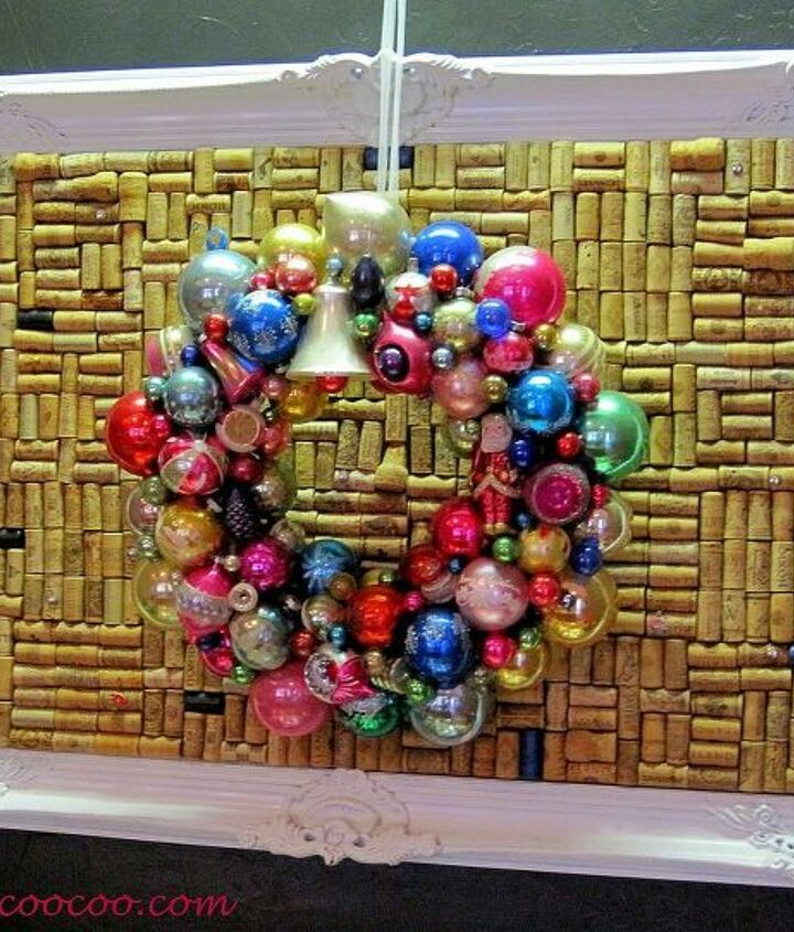 Vintage Christmas ornament Wreath on large work board made from wine corks
