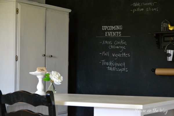 A Chalkboard wall allows you to make notes and keep track of upcoming events and dates.