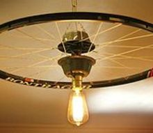 repurposed upcycled bicycle rim pendant hanging light, lighting, repurposing upcycling, I used small cake bundt pans molds on top and bottom to bring the center parts together