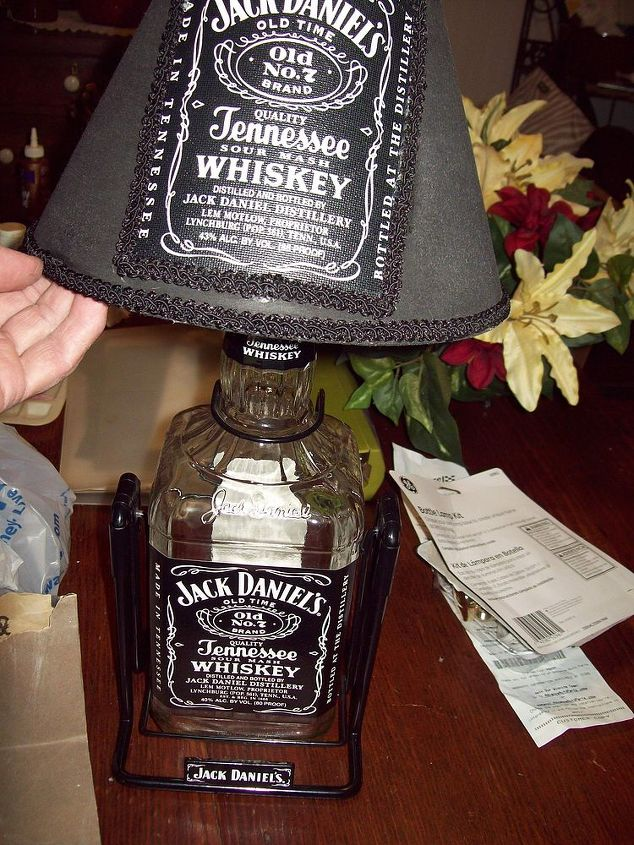 jack daniels lamp, home decor, lighting, repurposing upcycling, This is just before I filled the bottle with whiskey colored glass stones