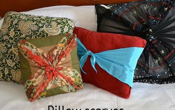 no sew pillow make overs, crafts, home decor, repurposing upcycling, No sew pillow make overs using scarves fowhatitsworth jeannie