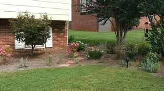 q suggestions for porch entrance, curb appeal, landscape, porches, Far right showing extended bed with crape myrtle s there are 3 of them extending perpendicular from the house