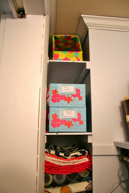 Use shoe boxes as pretty and functional storage.