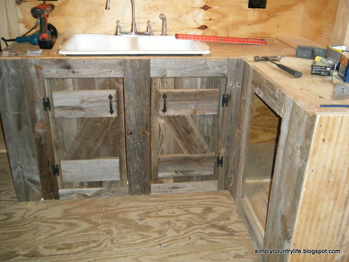 Kitchen cabinets made from reclaimed salvaged barnwood for Barnwood plywood