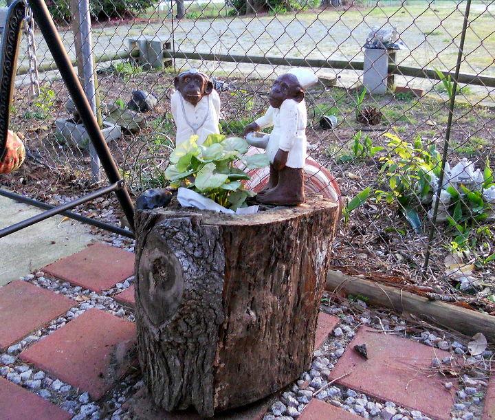 hollow log planter, gardening, Natural Hollow Log Planter