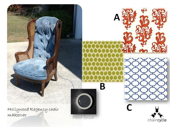 hollywood regency makeover which fabric, painted furniture, reupholster