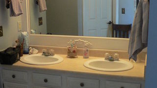q kitchen cabinets, kitchen design, painting, Updated Master Bath cabinet mirror countertop to come