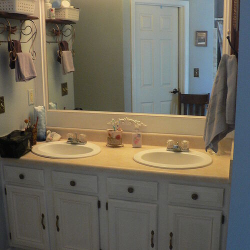 Updated Master Bath cabinet & mirror (countertop to come!)
