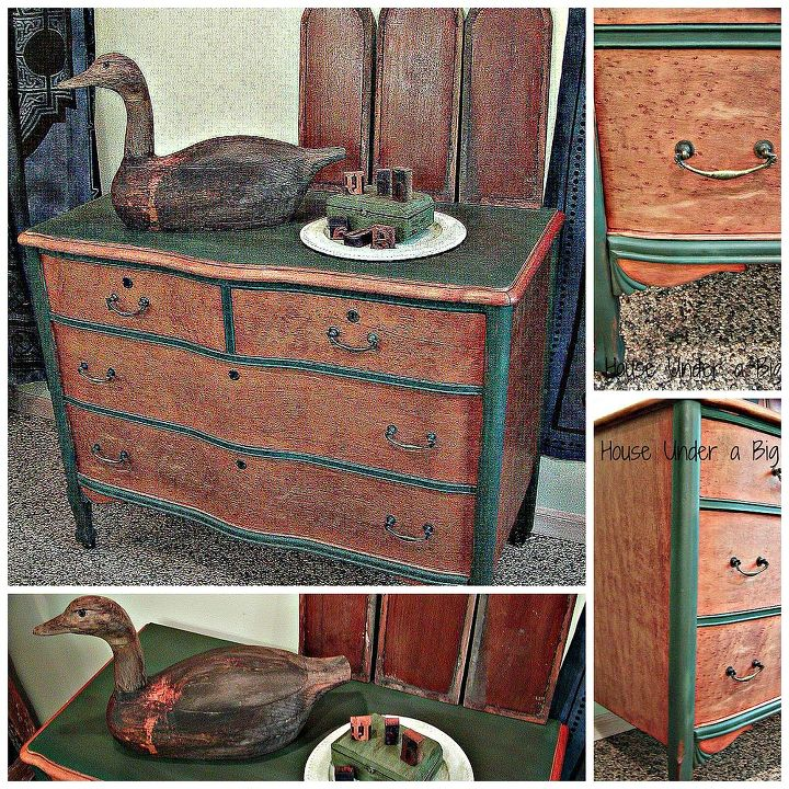 Photo collage of various view of the Bird's Eye Dresser.