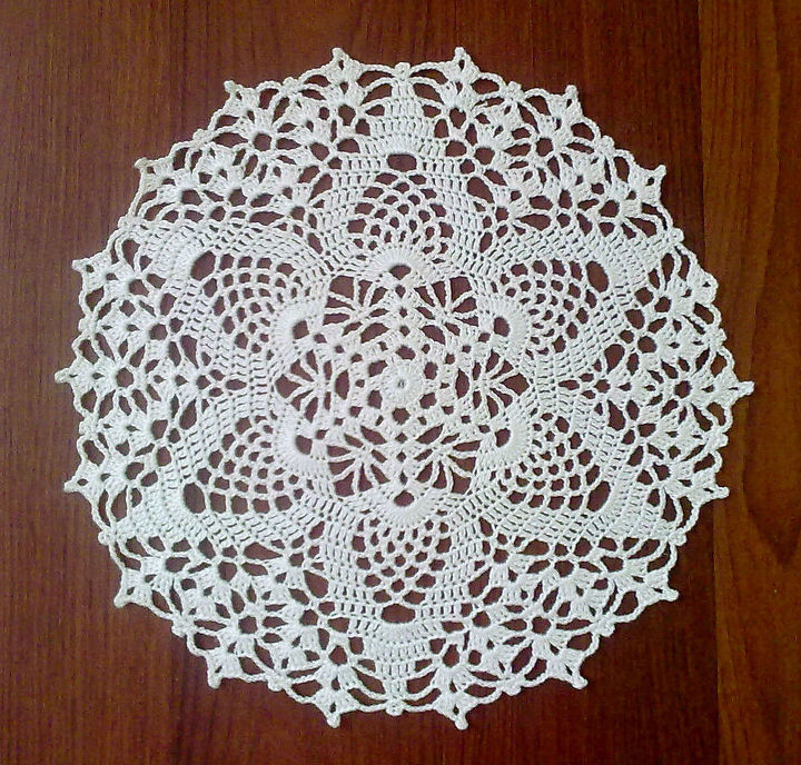 white round crochet doily, crafts, home decor