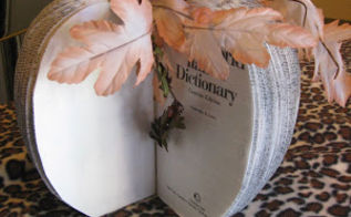 make it pretty monday features, curb appeal, home decor, painted furniture, seasonal holiday decor, Book Pages Pumpkin from