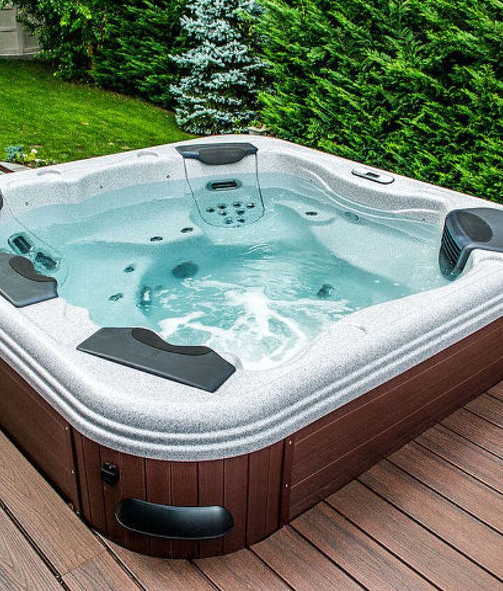 Deck built in Centerport New York with Trex Lava Rock Transend    decking Bullfrog spa.