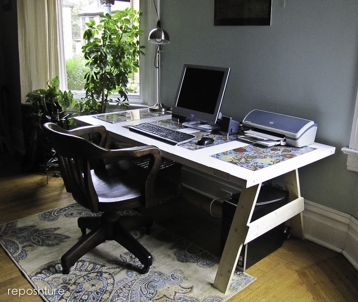 door trestle desk two ways, repurposing upcycling